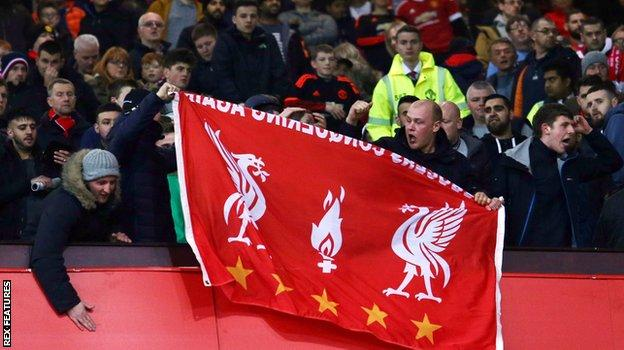 Liverpool fans at Old Trafford