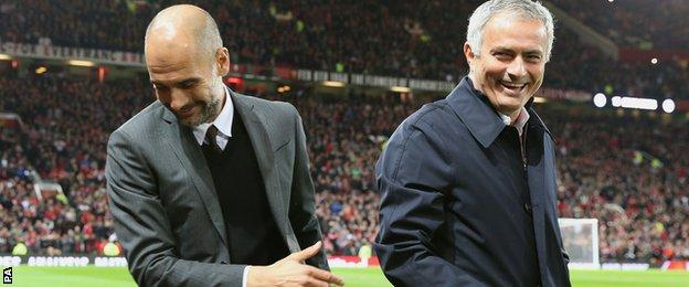 Guardiola and Mourinho appeared in good spirits before kick-off at Old Trafford