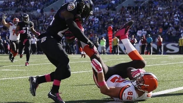 Cleveland Browns' Barnidge makes touchdown catch using his legs ...