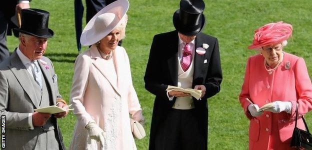 Prince Charles and the Duchess of Cornwall with the Queen at Royal Ascot on Friday