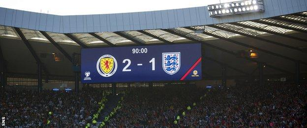Hampden scoreboard shows Scotland leading England 2-1