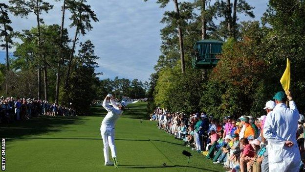 Danny Willett tees off on the 18th hole on the final round of the Masters