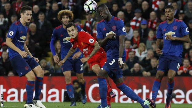 Philippe Coutinho's curling shot forced Manchester United goalkeeper David de Gea to make a brilliant save