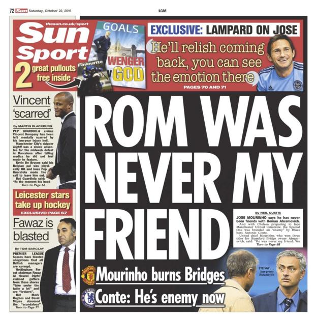 The back page of the Sun