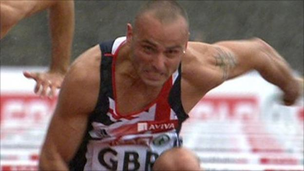 Andy Turner wins 110m hurdles in wet conditions