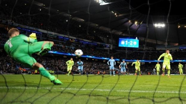 Lionel Messi penalty miss gives Man City chance - Pellegrini - BBC ...