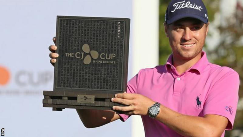 Justin Thomas lifts CJ Cup trophy