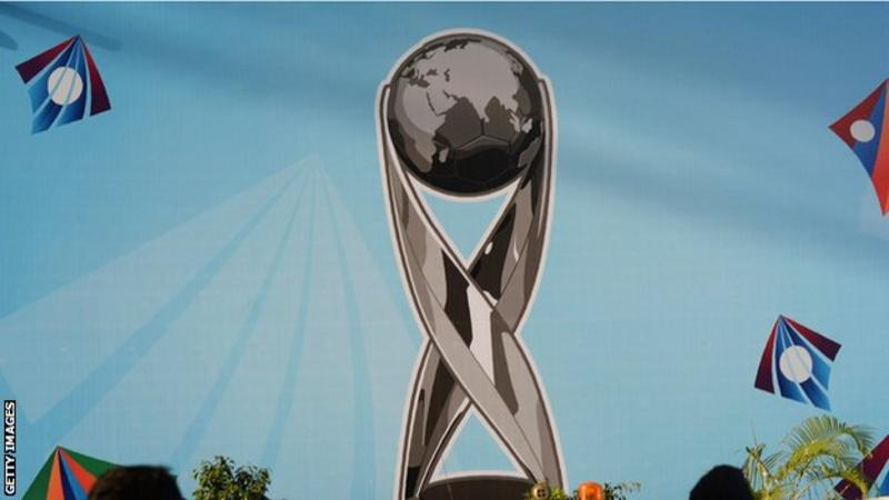 A mural of the Under-17 World Cup trophy