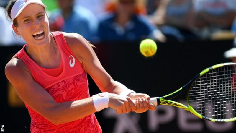 Johanna Konta suffered a defeat in Rome