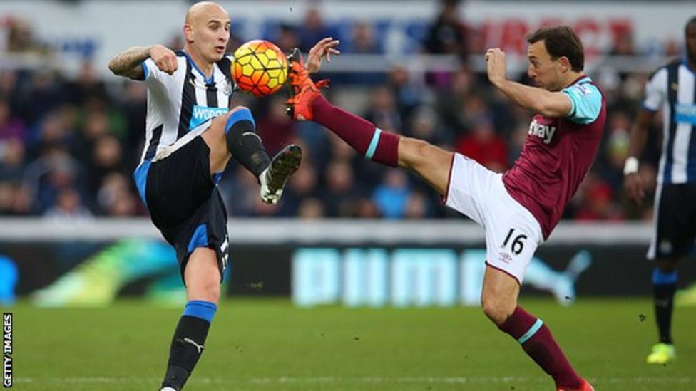 Newcastle United midfielder Jonjo Shelvey (left) in action against West Ham United