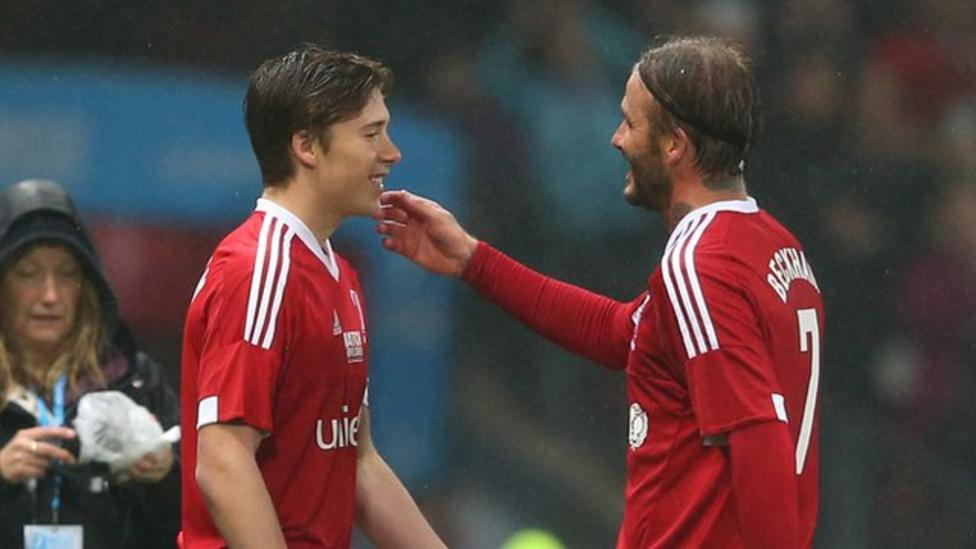 Prime David Beckham Is Replaced By Son Brooklyn In Charity Match Bbc Sport Short Hairstyles Gunalazisus