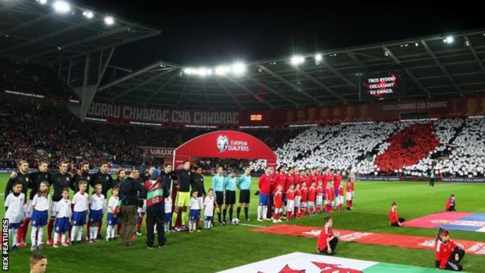 Fans make a poppy mosaic before the Wales game