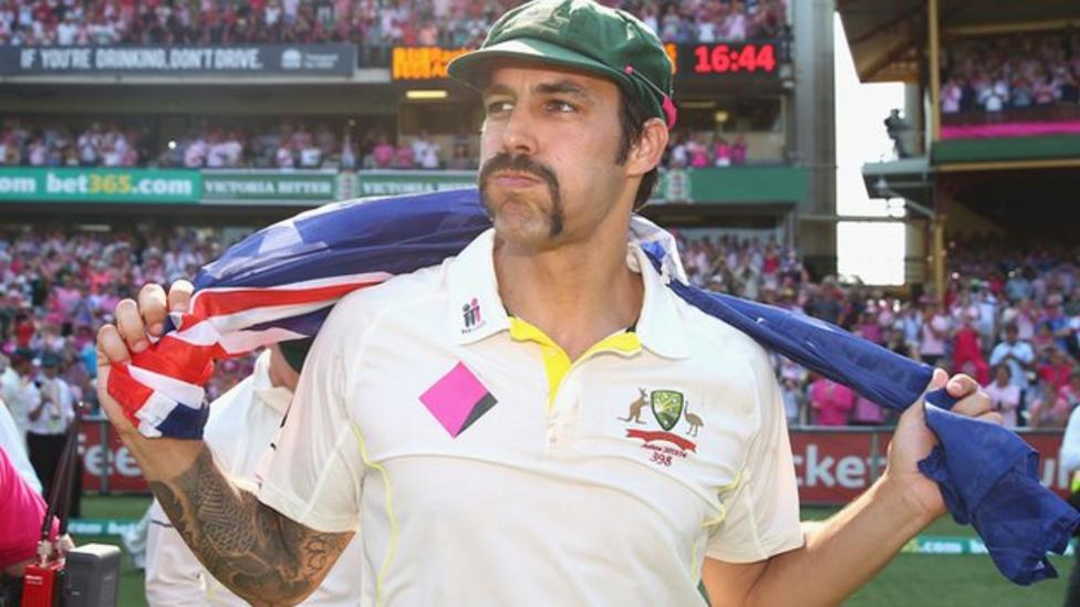 Mitchell Johnson of Australia celebrates victory during day three of the Fifth Ashes Test match between Australia and England at Sydney Cricket Ground on January 5, 2014