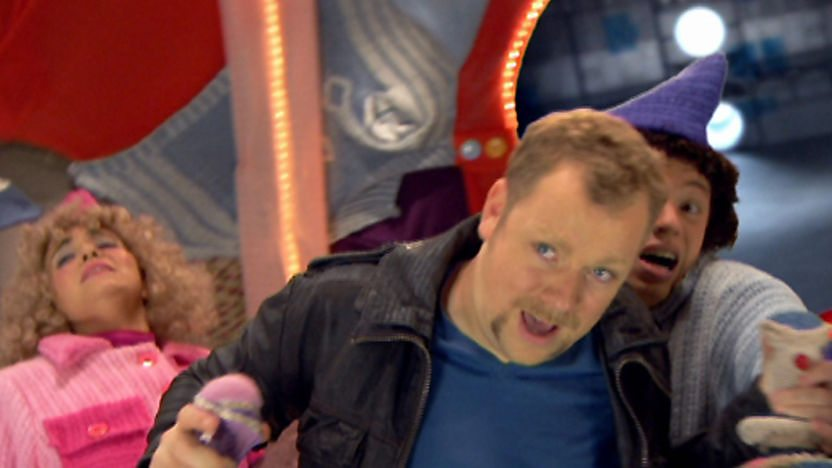 Rufus Hound flying a spaceship