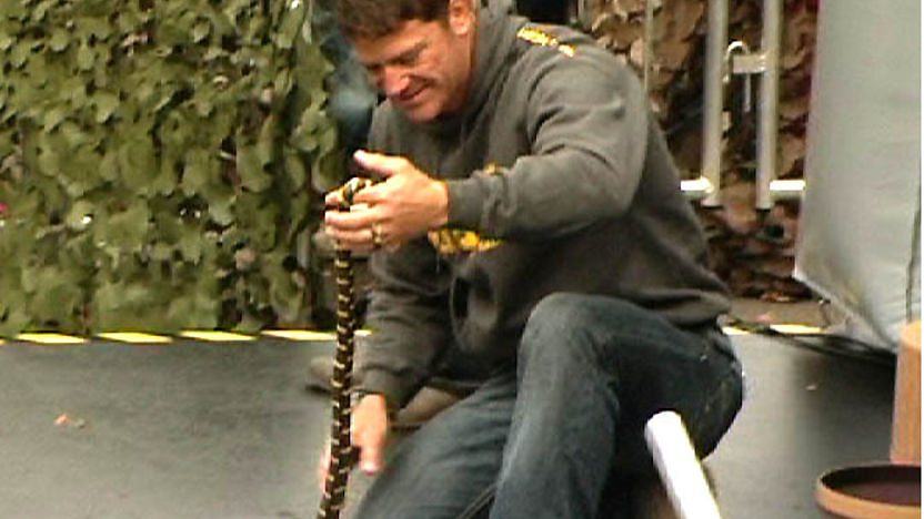 Steve Backshall holding a snake