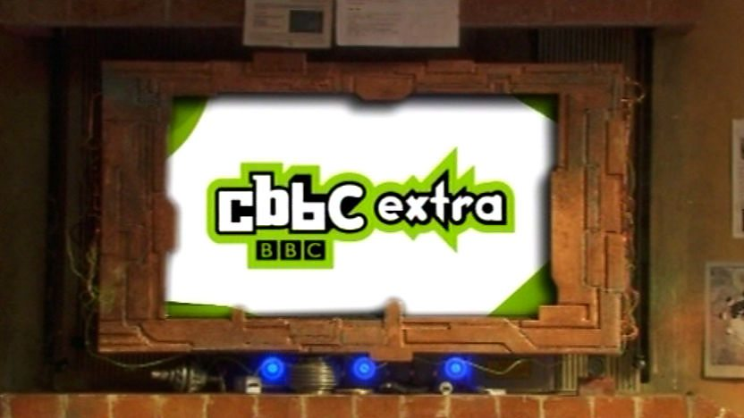 CBBC Extra logo on Mr. Smith&#39;s screen.