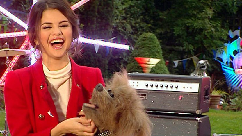 Selena and Dodge laughing in the Blue Peter garden