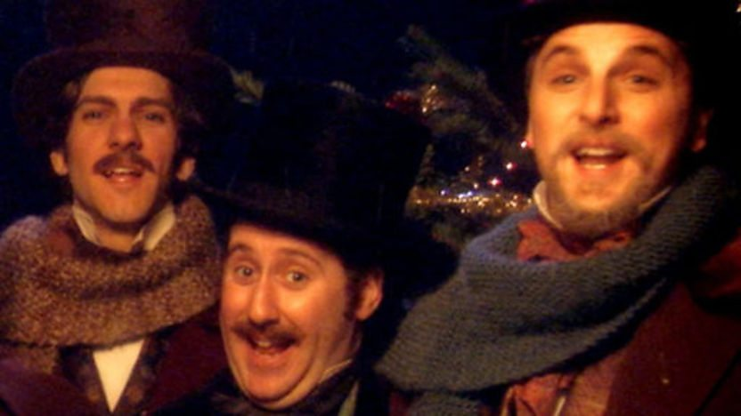 Horrible Histories cast singing Christmas carols.