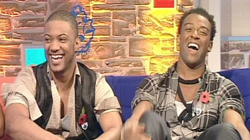 JB and Oritsé from JLS on the Blue Peter sofa