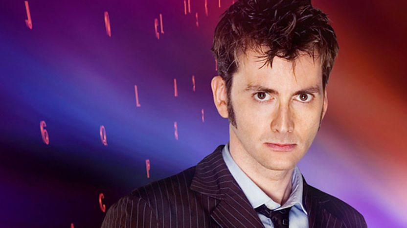 The Tenth Doctor looking stern.
