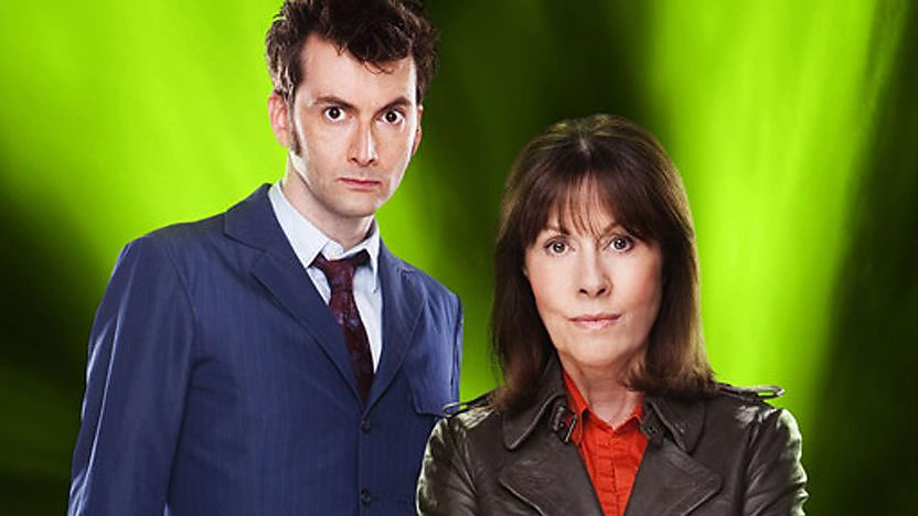 The Tenth Doctor and Sarah Jane on a green background.