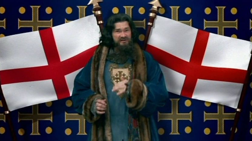 King William I sings in front of the English flag