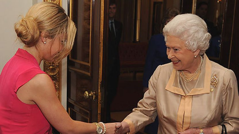 Blue Peter presenter Helen Skelton meets the Queen of England.