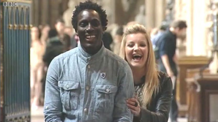 Blue Peter presenters Andy Akinwolere and Helen Skelton at Westminster Abbey.