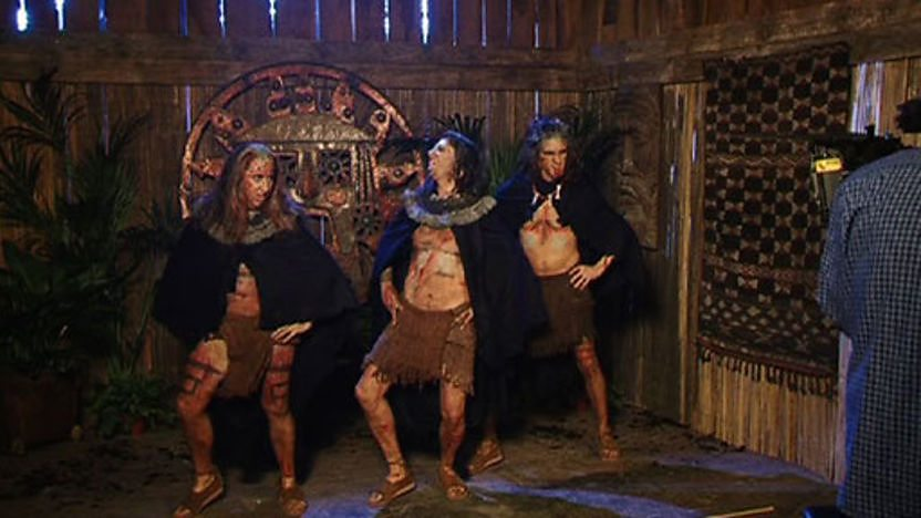 Horrible Histories stars dressed as Aztec priests dancing