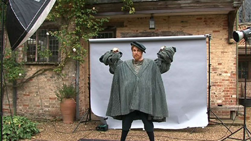 Horrible Histories star Ben Willbond poses for a photo dressed as Henry VIII