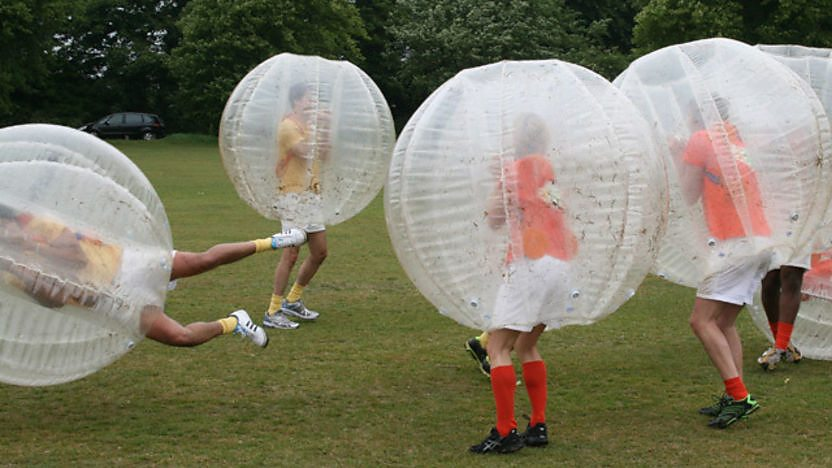 CBBC Stars play Zorb-Football