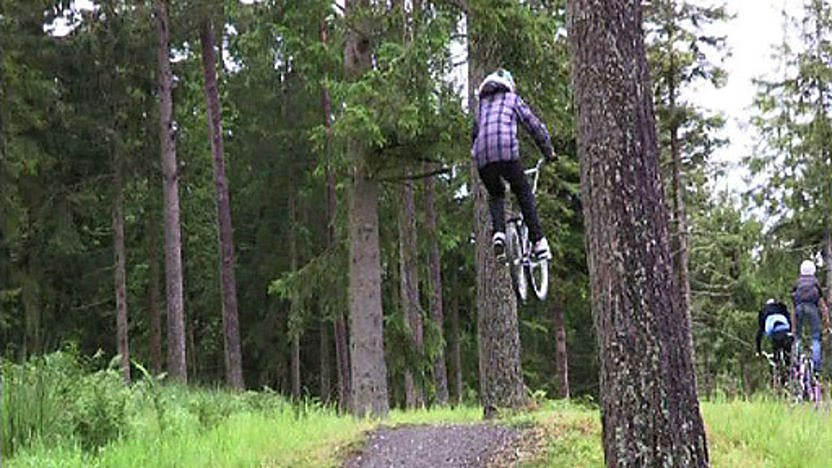 BMX rider doing a jump in the woods