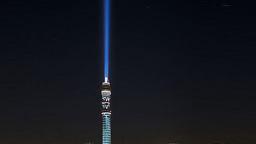 The BT Tower in London lit up to look like a giant Star Wars lightsaber