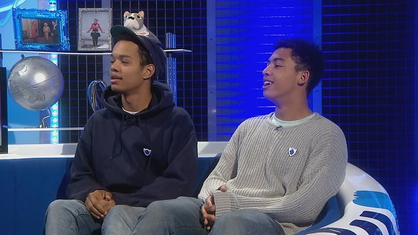 Rizzle Kicks sitting on the sofa in the Blue Peter studio