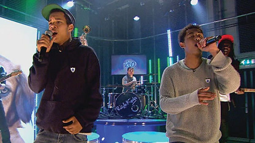 Rizzle Kicks singing live in the Blue Peter studio