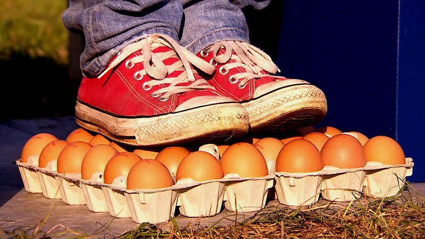 A pair of shoes stood on a crate of eggs.