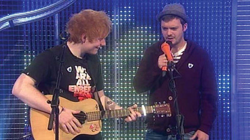 Ed Sheeran teaching Barney Harwood how to use a loop pedal.