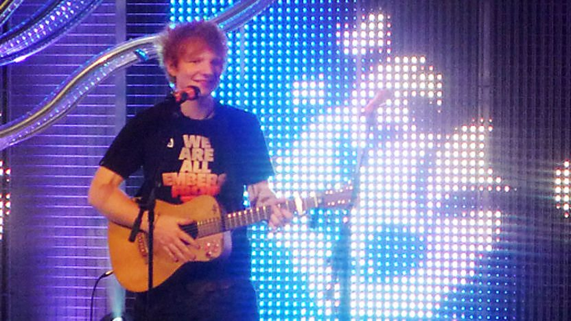 Ed Sheeran performing live in the blue peter studio.