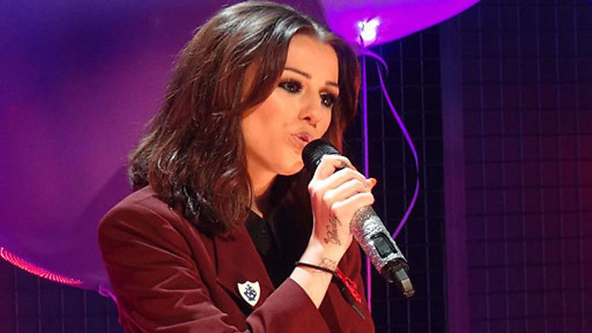Cher Lloyd performing in the Blue Peter studio.