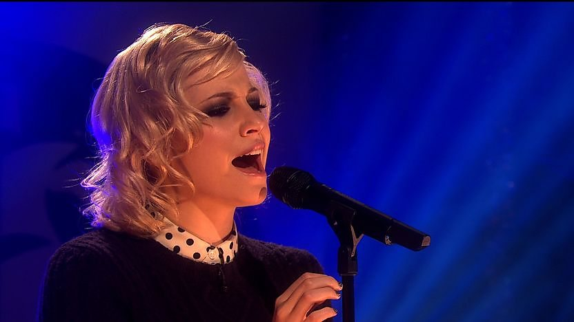 Pixie Lott performing in the Blue Peter studio.