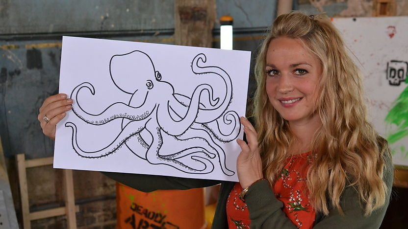 Nicola shows you how to draw a Deadly Doodle of a Giant Pacific Octopus