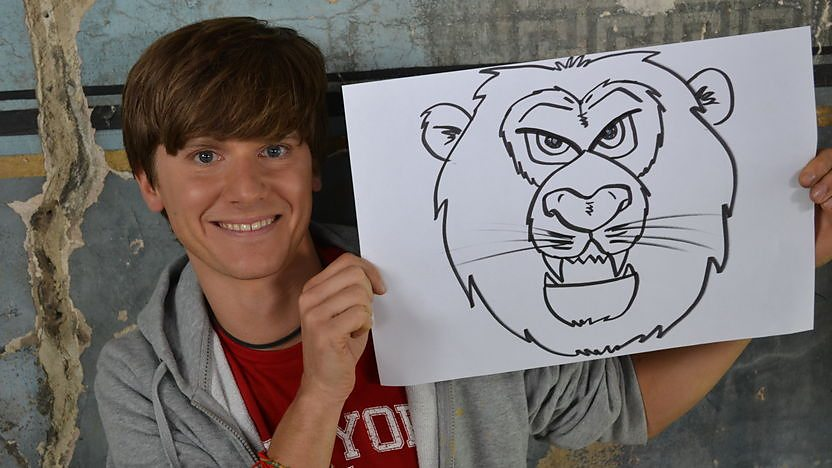 Mike and a Drawing of a Lion