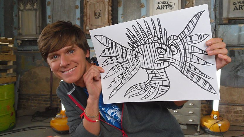 Mike shows you how to draw a Deadly Doodle of a Lionfish.