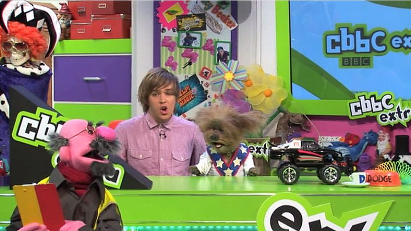 Chris and Dodge in the CBBC Studio.