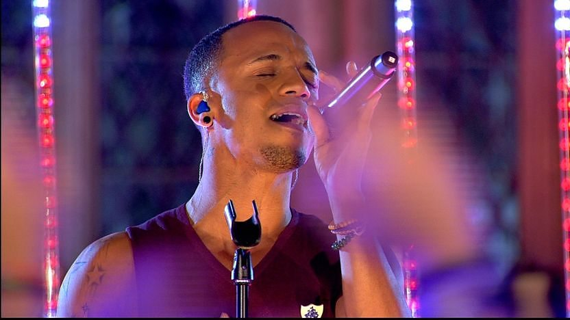 Aston fromk JLS singing in the Harry Potter studios, performing 'Proud'.
