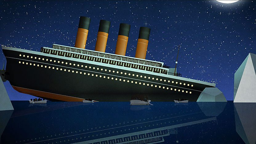 An cartoon version of the titanic in the ocean with two icebergs either side.