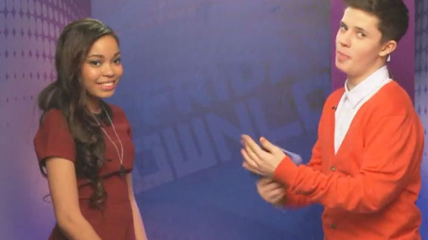 Dionne Bromfield and Ceallach Spellman backstage. 