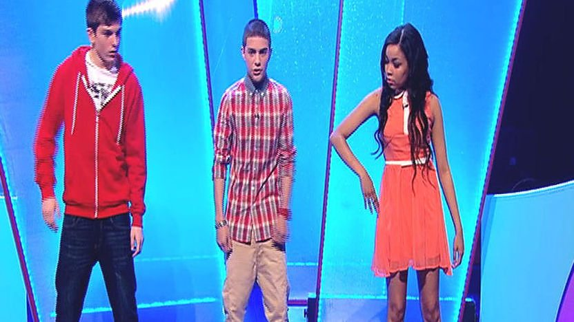 Dionne Bromfield, Aidan Davis and Richard Wisker dancing on stage.