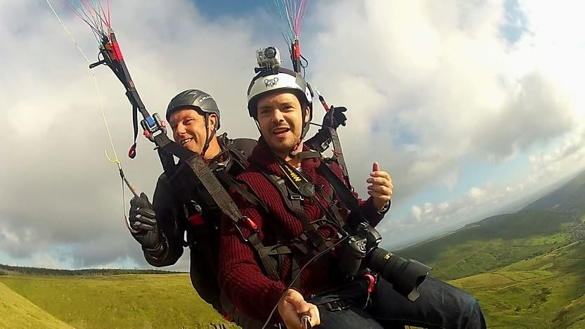 Barney Harwood in a paraglider