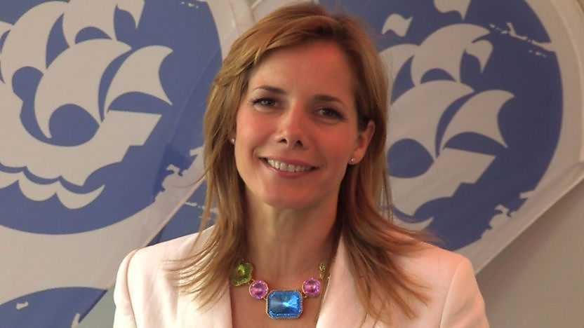 Darcey Bussell in front of the Blue Peter logo